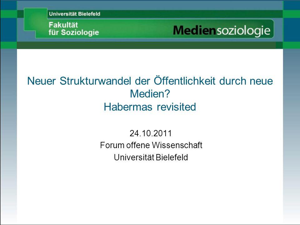 24.10.2011 Forum offene Wissenschaft Universität Bielefeld