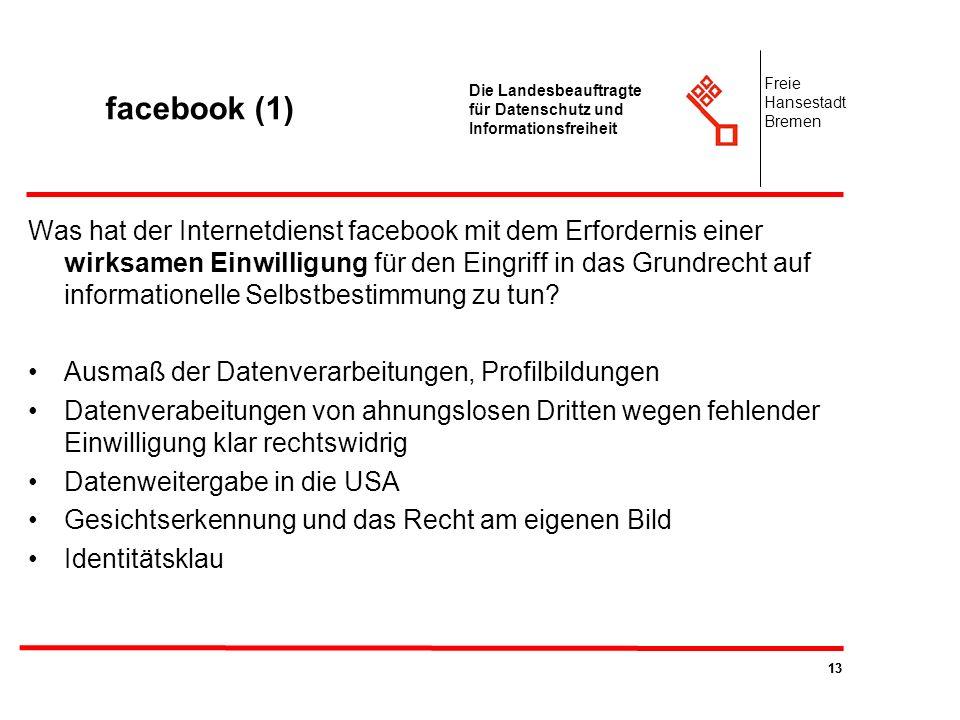 facebook (1) Freie. Hansestadt. Bremen. Die Landesbeauftragte für Datenschutz und Informationsfreiheit.