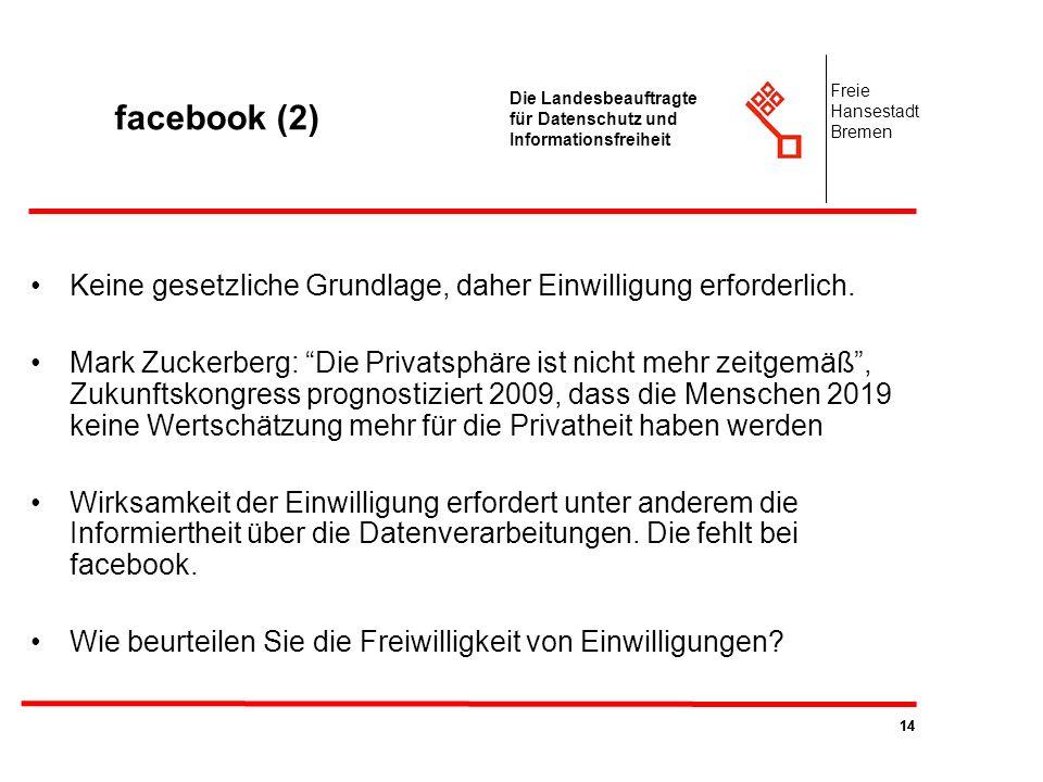 facebook (2) Freie. Hansestadt. Bremen. Die Landesbeauftragte für Datenschutz und Informationsfreiheit.