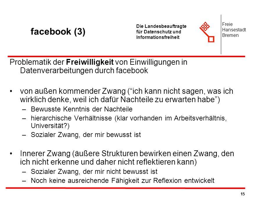 facebook (3) Freie. Hansestadt. Bremen. Die Landesbeauftragte für Datenschutz und Informationsfreiheit.