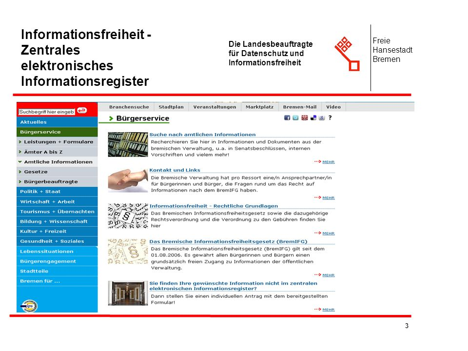 Informationsfreiheit - Zentrales elektronisches Informationsregister