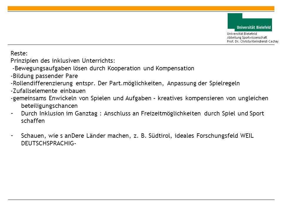 Reste: Prinzipien des inklusiven Unterrichts: -Bewegungsaufgaben lösen durch Kooperation und Kompensation.