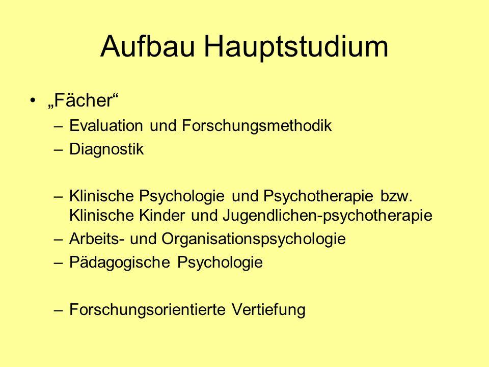 """Aufbau Hauptstudium """"Fächer Evaluation und Forschungsmethodik"""