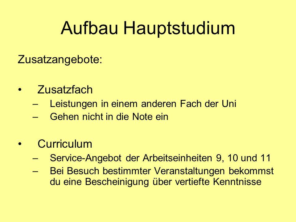 Aufbau Hauptstudium Zusatzangebote: Zusatzfach Curriculum