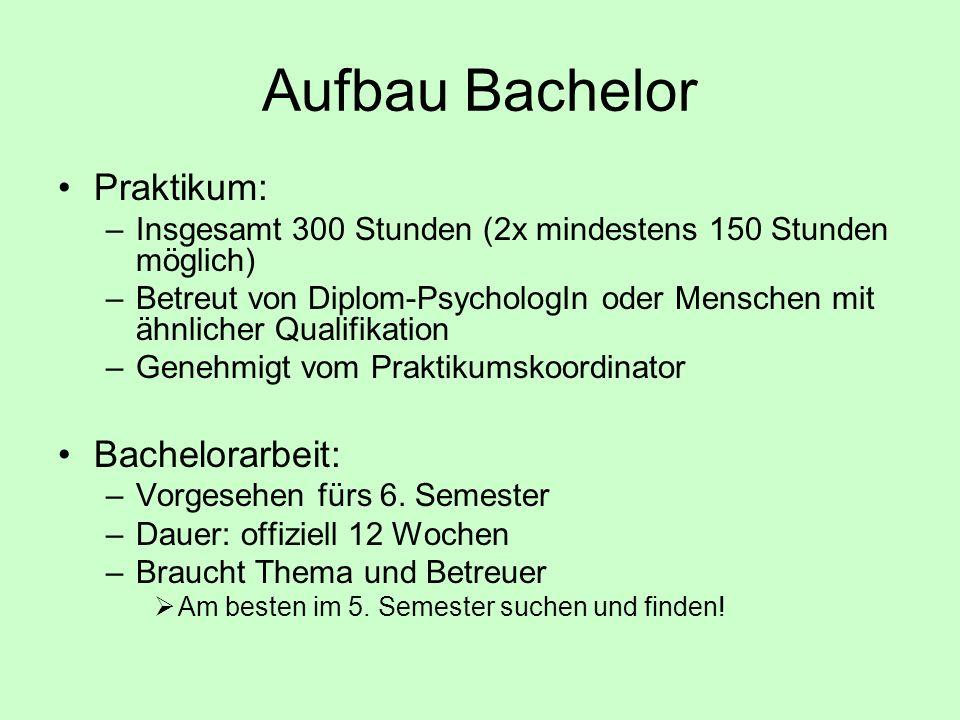 Aufbau Bachelor Praktikum: Bachelorarbeit: