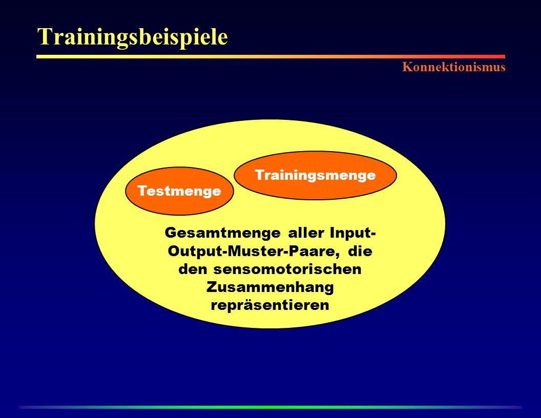 Trainingsbeispiele Konnektionismus. Gesamtmenge aller Input-Output-Muster-Paare, die den sensomotorischen Zusammenhang repräsentieren.