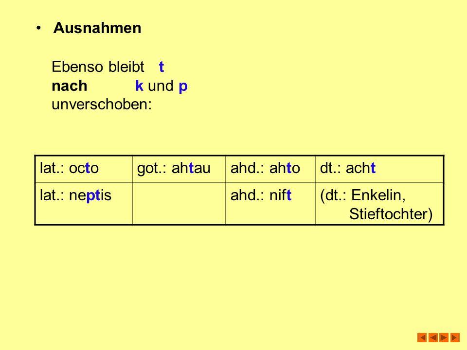 Ausnahmen Ebenso bleibt t. nach k und p. unverschoben: lat.: octo. got.: ahtau. ahd.: ahto.