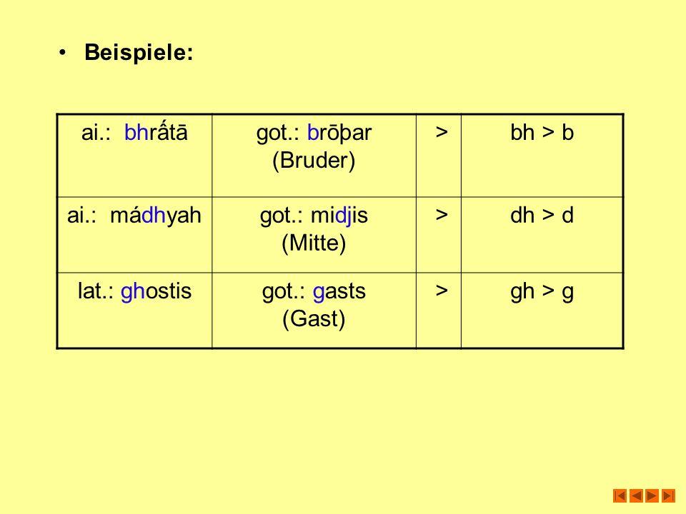 Beispiele: ai.: bhrấtā. got.: brōþar (Bruder) > bh > b. ai.: mádhyah. got.: midjis (Mitte)