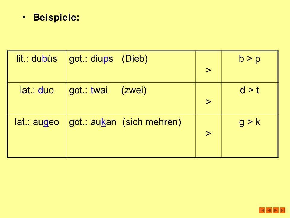 Beispiele: lit.: dubùs. got.: diups (Dieb) > b > p. lat.: duo. got.: twai (zwei) d > t.