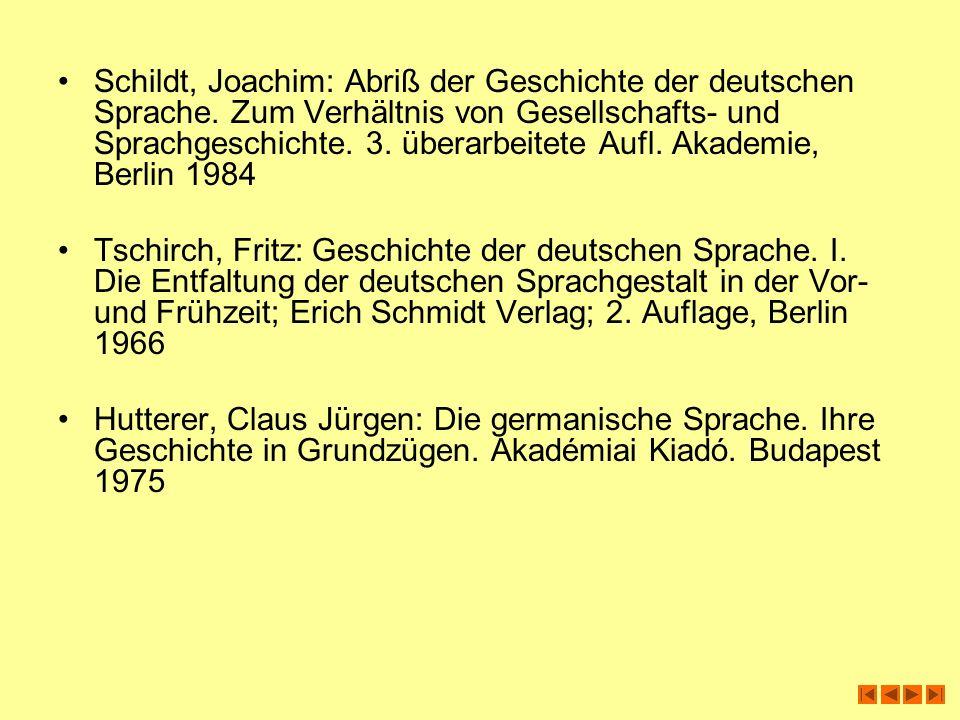 Schildt, Joachim: Abriß der Geschichte der deutschen Sprache