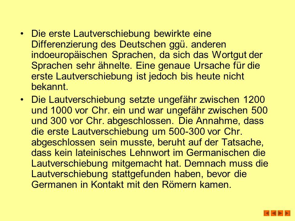 Die erste Lautverschiebung bewirkte eine Differenzierung des Deutschen ggü. anderen indoeuropäischen Sprachen, da sich das Wortgut der Sprachen sehr ähnelte. Eine genaue Ursache für die erste Lautverschiebung ist jedoch bis heute nicht bekannt.