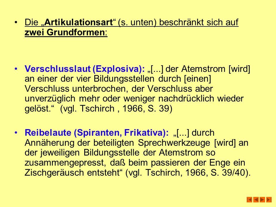 """Die """"Artikulationsart (s. unten) beschränkt sich auf zwei Grundformen:"""
