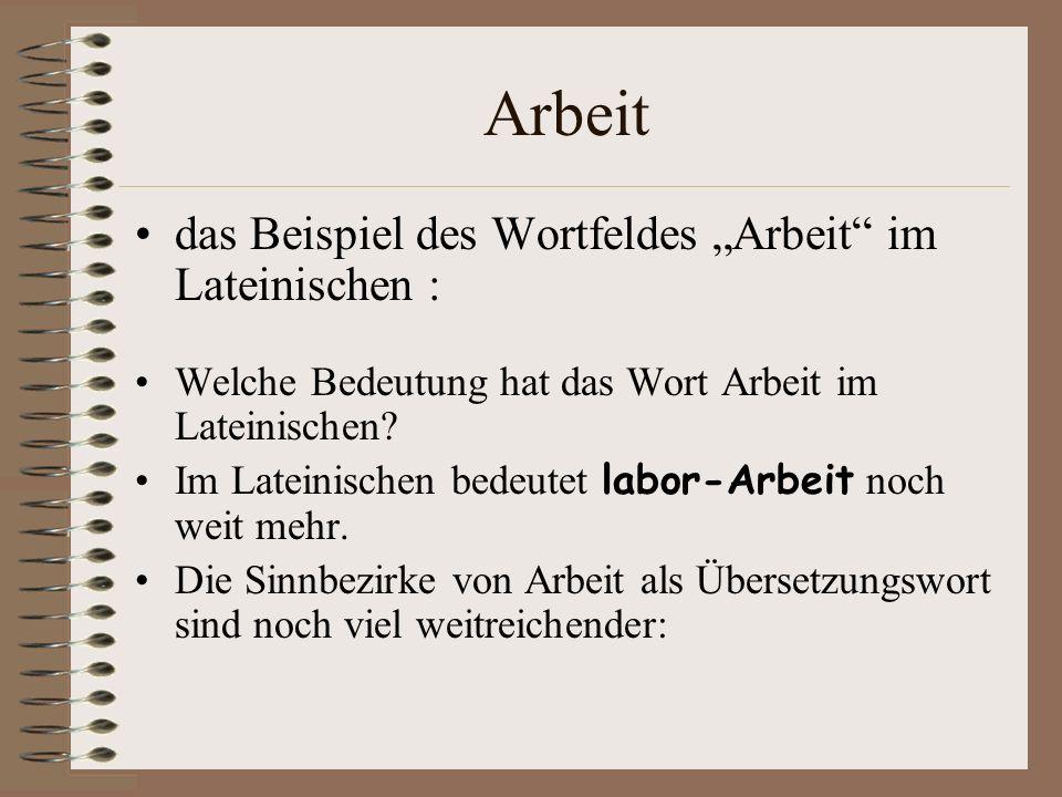 """Arbeit das Beispiel des Wortfeldes """"Arbeit im Lateinischen :"""