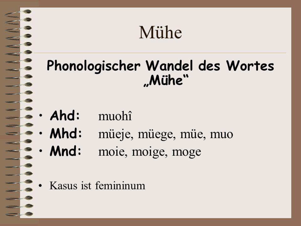 """Phonologischer Wandel des Wortes """"Mühe"""