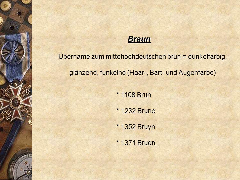 Braun Übername zum mittehochdeutschen brun = dunkelfarbig, glänzend, funkelnd (Haar-, Bart- und Augenfarbe)