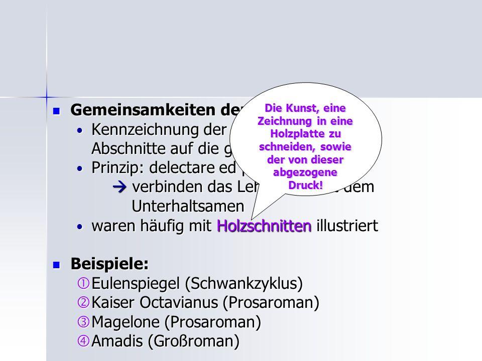 Gemeinsamkeiten der Volksbücher: Kennzeichnung der Kapitel, Vorreden,