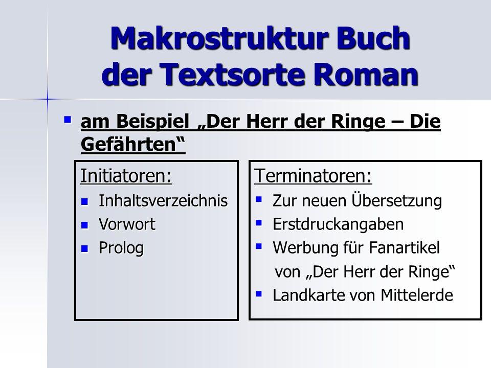 Makrostruktur Buch der Textsorte Roman