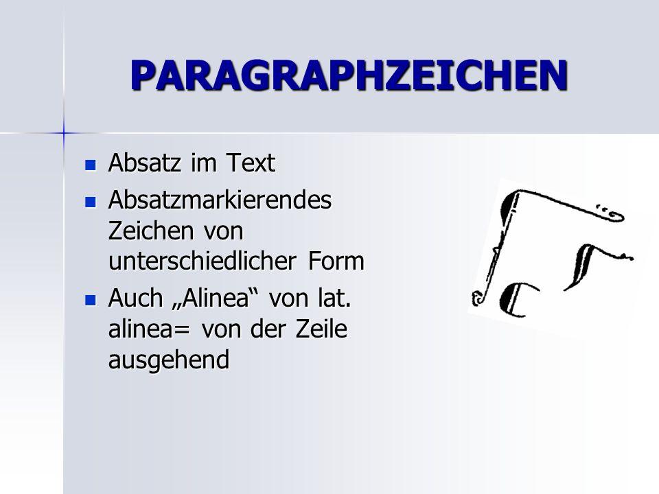 PARAGRAPHZEICHEN Absatz im Text