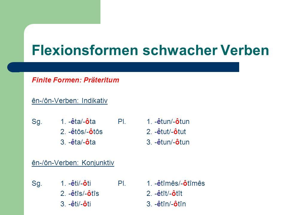 Flexionsformen schwacher Verben
