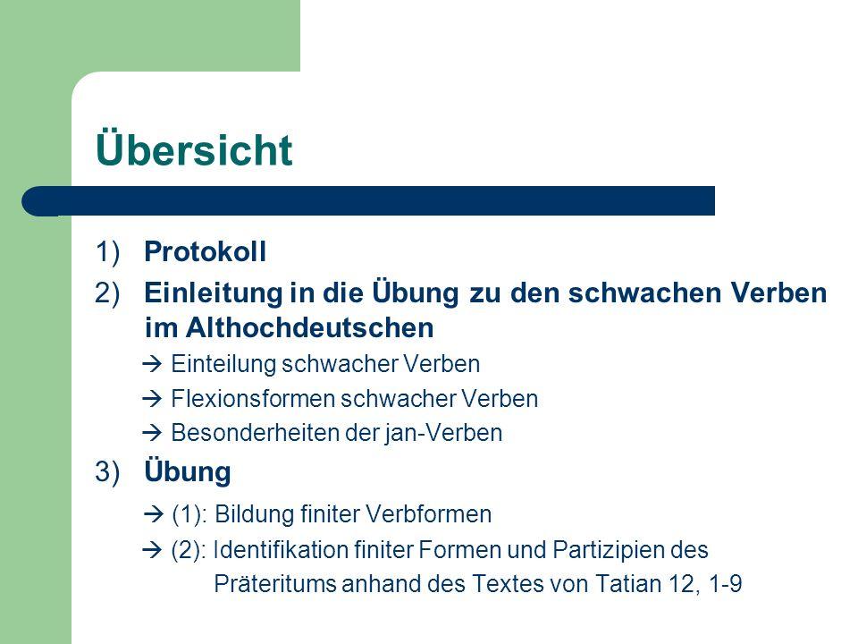 Übersicht 1) Protokoll. 2) Einleitung in die Übung zu den schwachen Verben im Althochdeutschen.