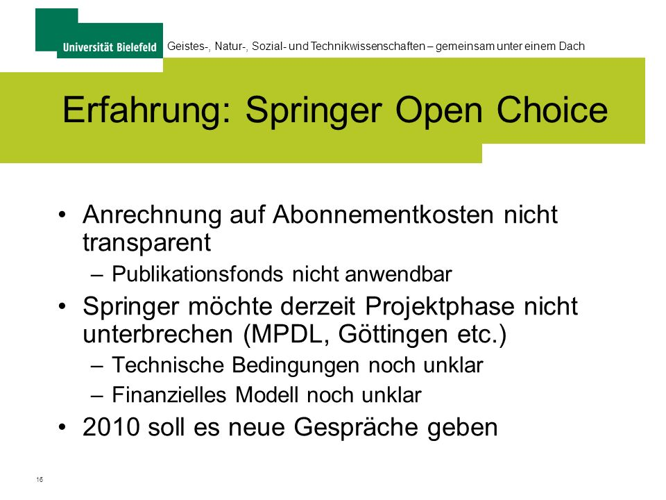 Erfahrung: Springer Open Choice