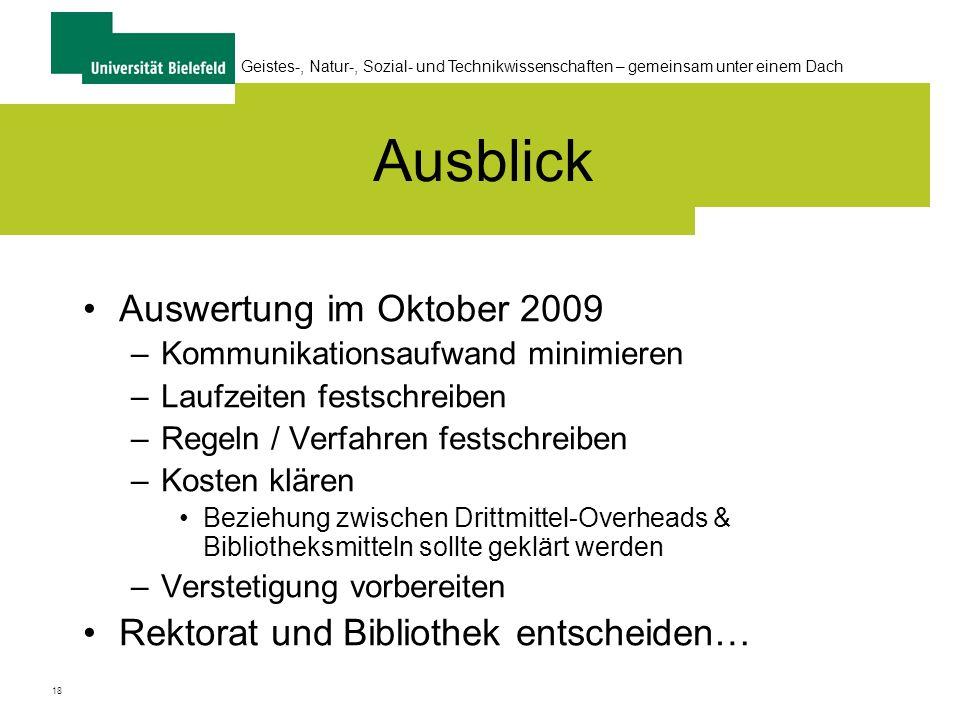 Ausblick Auswertung im Oktober 2009