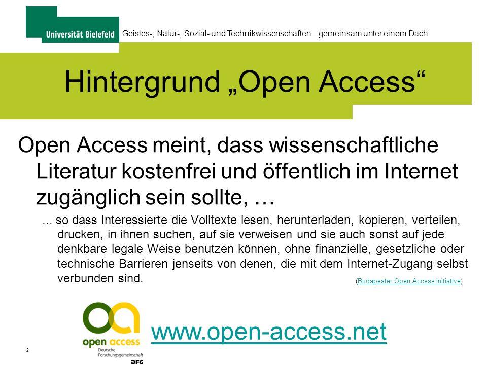 """Hintergrund """"Open Access"""