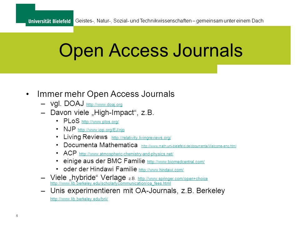 Open Access Journals Immer mehr Open Access Journals