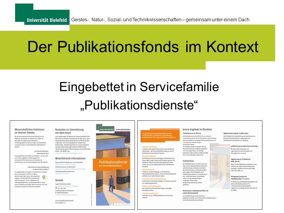 Der Publikationsfonds im Kontext