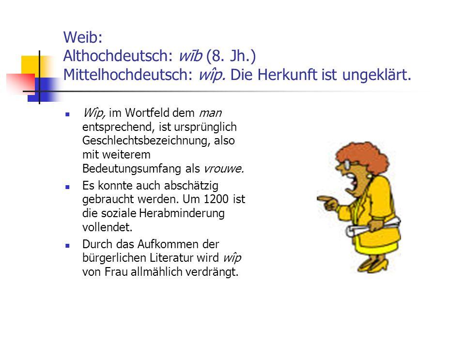 Weib: Althochdeutsch: wīb (8. Jh. ) Mittelhochdeutsch: wîp