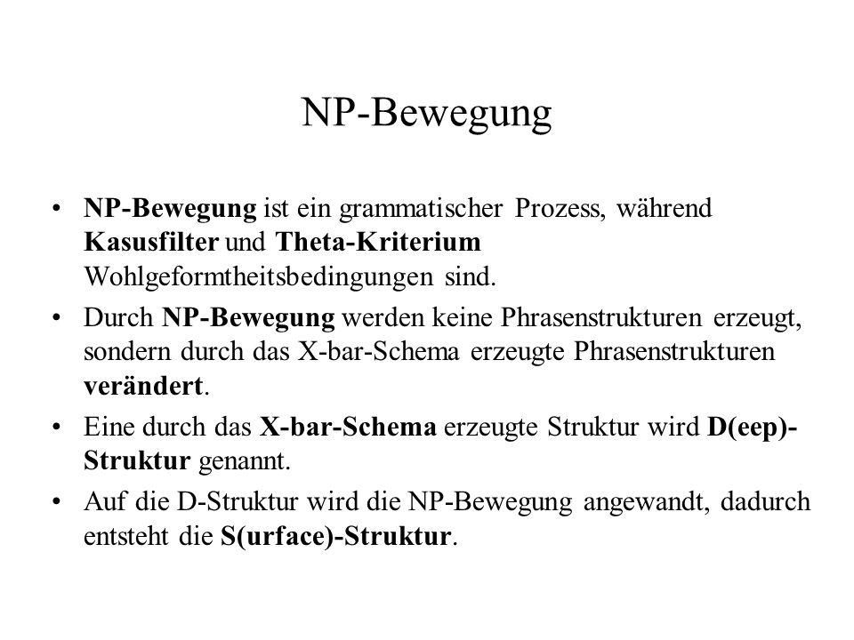 NP-Bewegung NP-Bewegung ist ein grammatischer Prozess, während Kasusfilter und Theta-Kriterium Wohlgeformtheitsbedingungen sind.