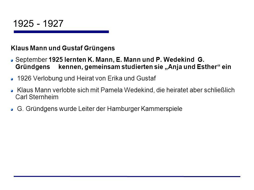 1925 - 1927 Klaus Mann und Gustaf Grüngens