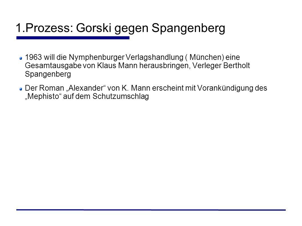 1.Prozess: Gorski gegen Spangenberg