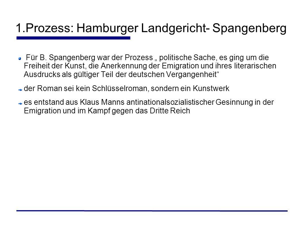 1.Prozess: Hamburger Landgericht- Spangenberg