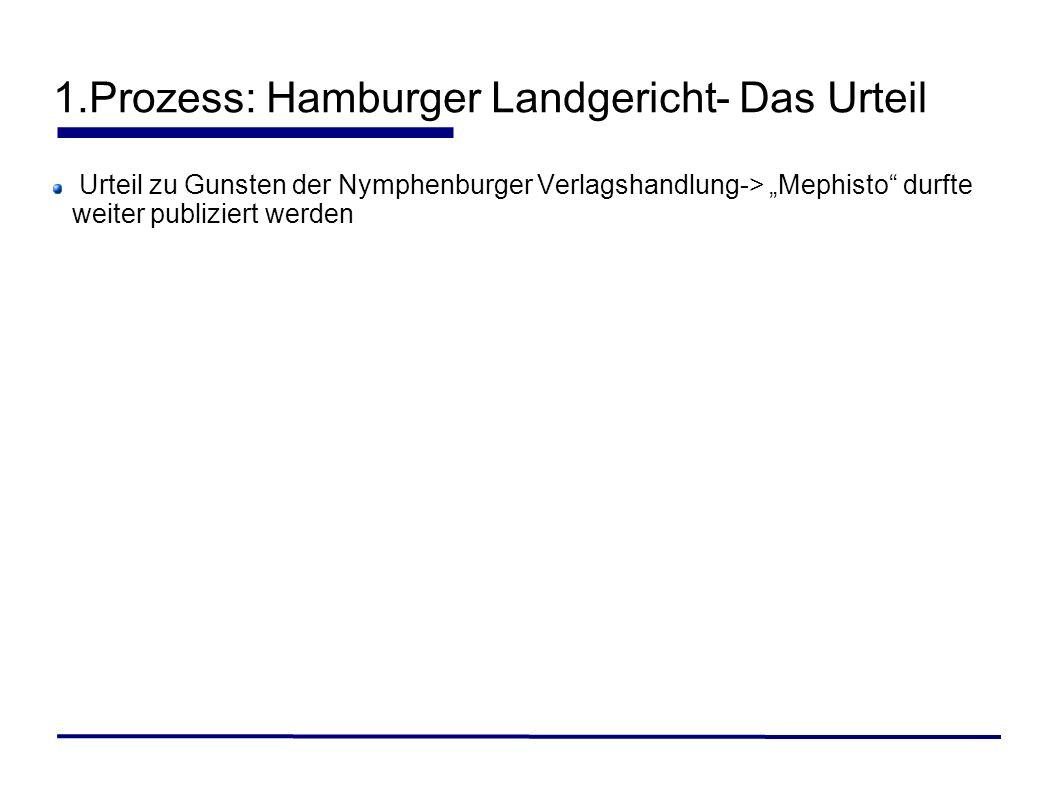 1.Prozess: Hamburger Landgericht- Das Urteil