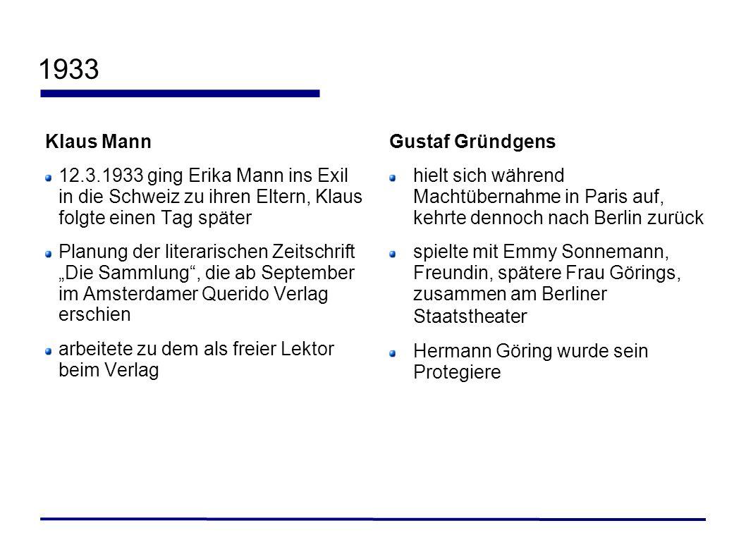 1933Klaus Mann. 12.3.1933 ging Erika Mann ins Exil in die Schweiz zu ihren Eltern, Klaus folgte einen Tag später.
