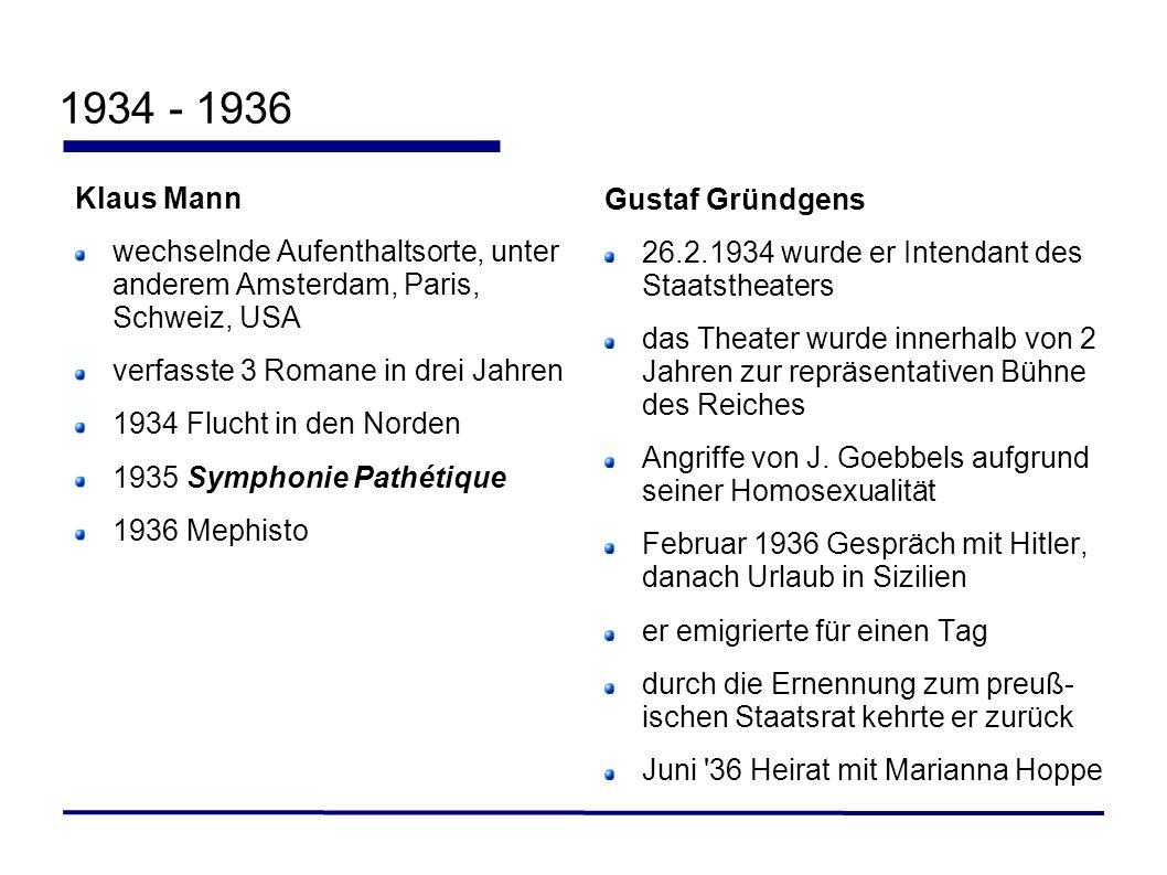 1934 - 1936 Klaus Mann Gustaf Gründgens