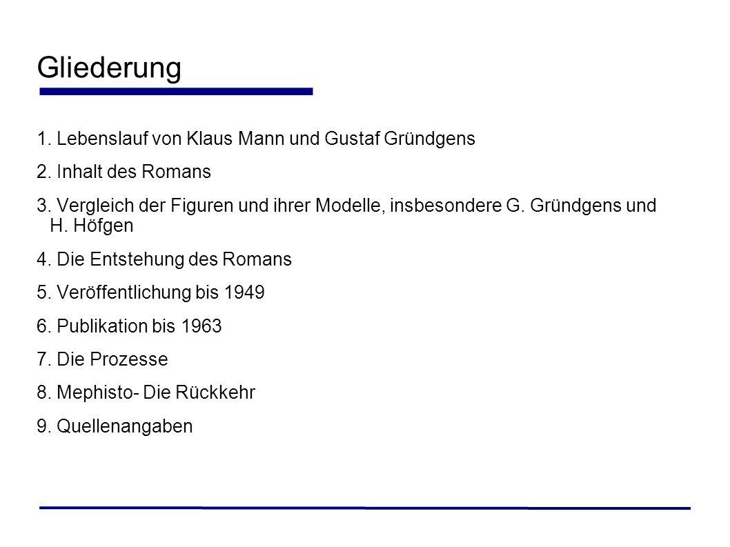 Gliederung Lebenslauf von Klaus Mann und Gustaf Gründgens