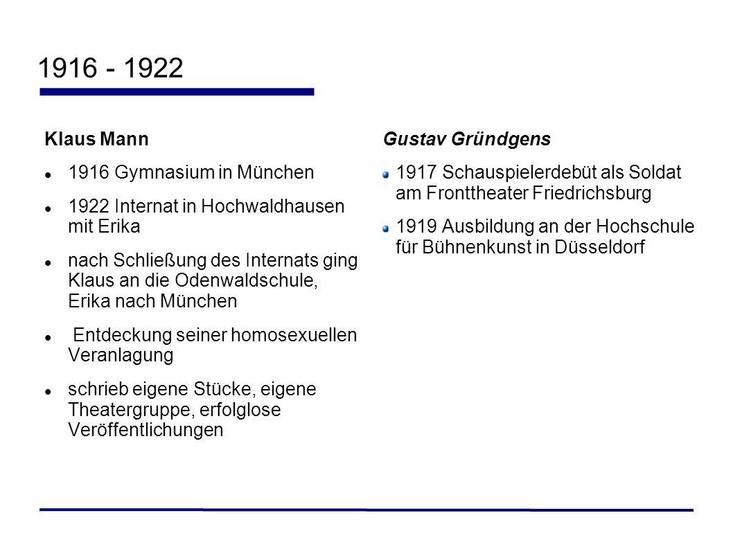 1916 - 1922 Klaus Mann 1916 Gymnasium in München