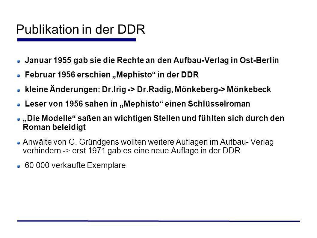 """Publikation in der DDRJanuar 1955 gab sie die Rechte an den Aufbau-Verlag in Ost-Berlin. Februar 1956 erschien """"Mephisto in der DDR."""