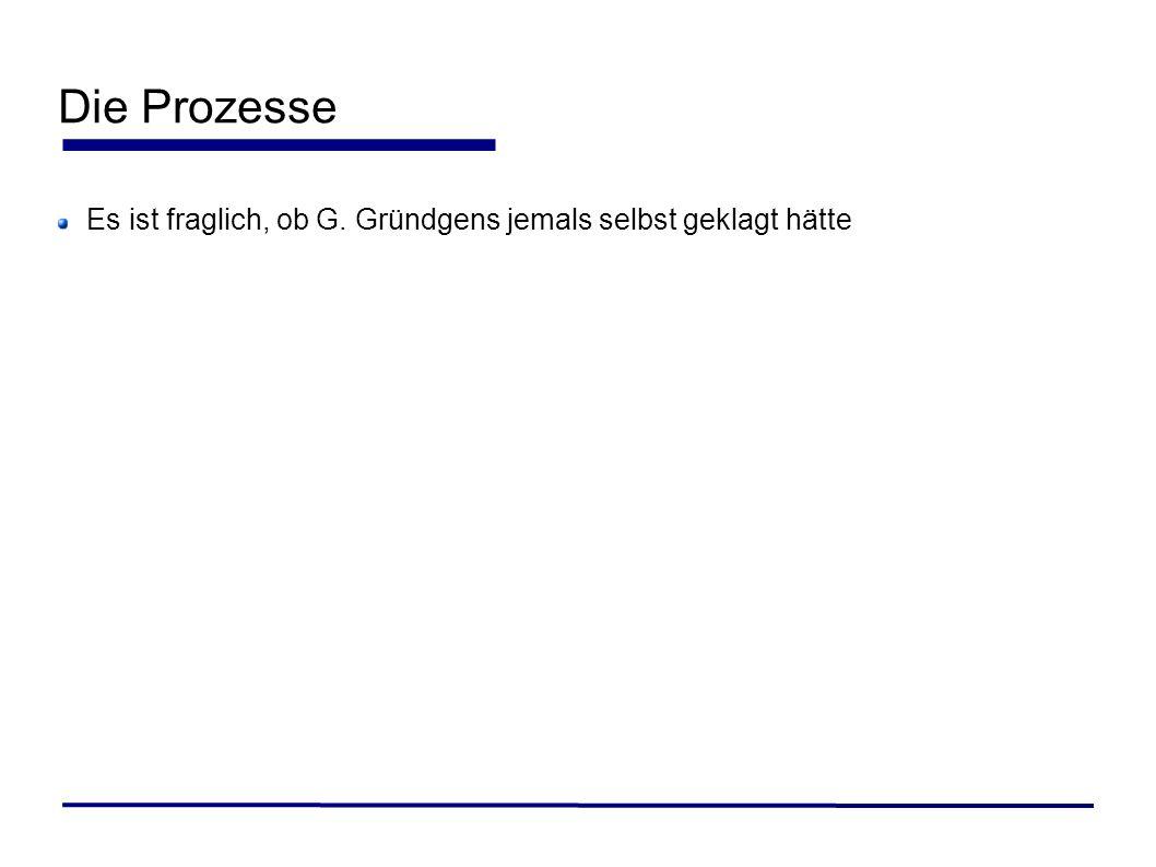 Die Prozesse Es ist fraglich, ob G. Gründgens jemals selbst geklagt hätte