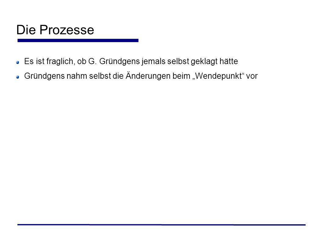 Die ProzesseEs ist fraglich, ob G.Gründgens jemals selbst geklagt hätte.