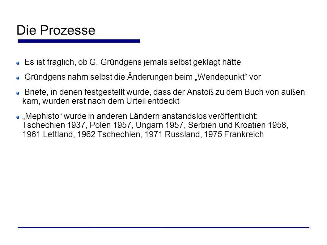 """Die ProzesseEs ist fraglich, ob G. Gründgens jemals selbst geklagt hätte. Gründgens nahm selbst die Änderungen beim """"Wendepunkt vor."""