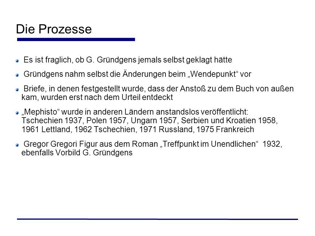 """Die Prozesse Es ist fraglich, ob G. Gründgens jemals selbst geklagt hätte. Gründgens nahm selbst die Änderungen beim """"Wendepunkt vor."""