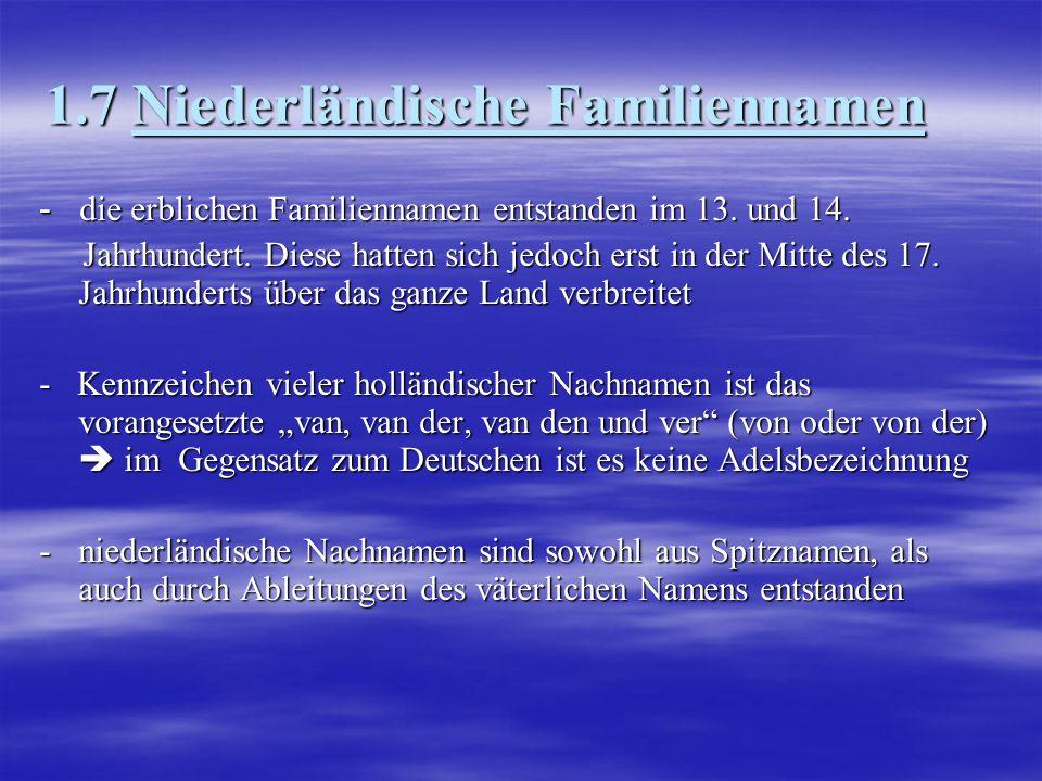 1.7 Niederländische Familiennamen