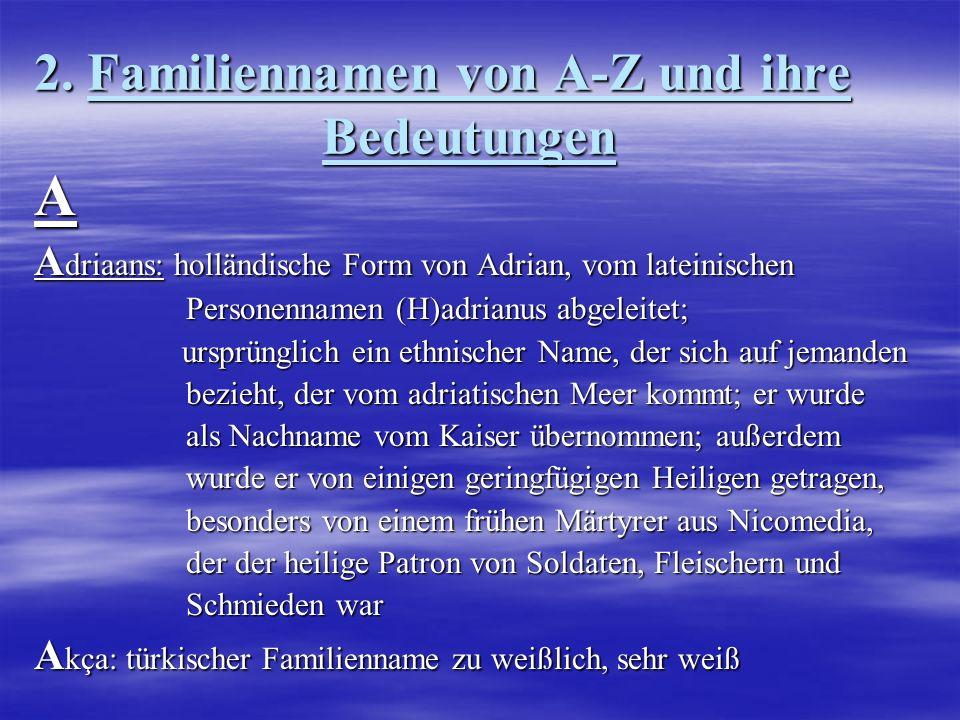 2. Familiennamen von A-Z und ihre Bedeutungen