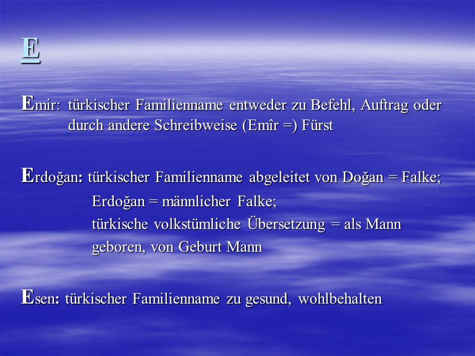 E Emir: türkischer Familienname entweder zu Befehl, Auftrag oder durch andere Schreibweise (Emîr =) Fürst.