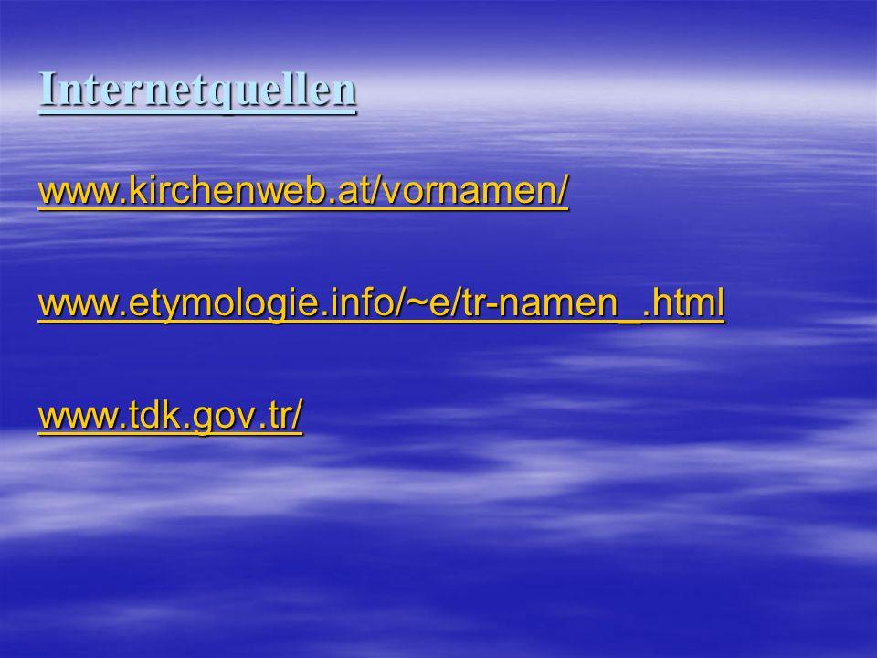 Internetquellen www.kirchenweb.at/vornamen/