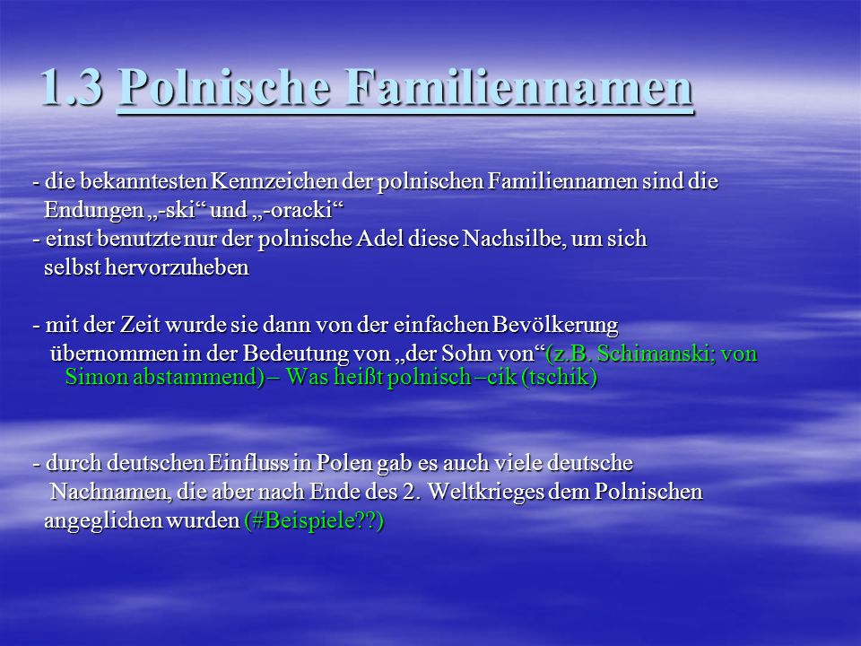 1.3 Polnische Familiennamen