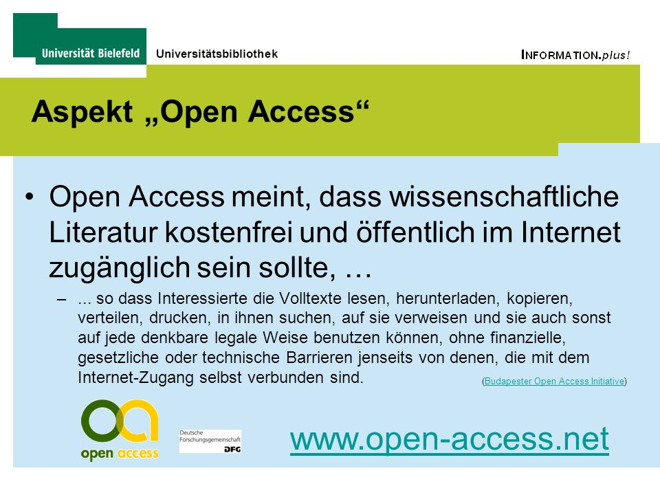 "www.open-access.net Aspekt ""Open Access"
